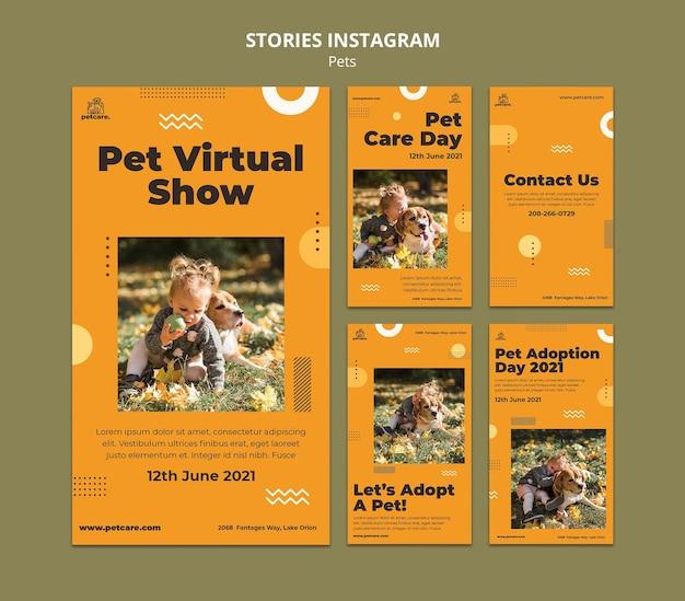 Storie di instagram per spettacoli virtuali per animali domestici