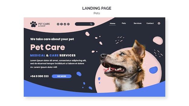Modello di progettazione della pagina di destinazione per la cura degli animali domestici