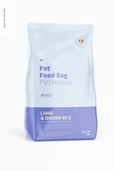 Mockup di borsa per alimenti per animali domestici, vista frontale