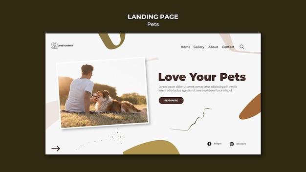 Pagina di destinazione di animali domestici e proprietari Psd Premium