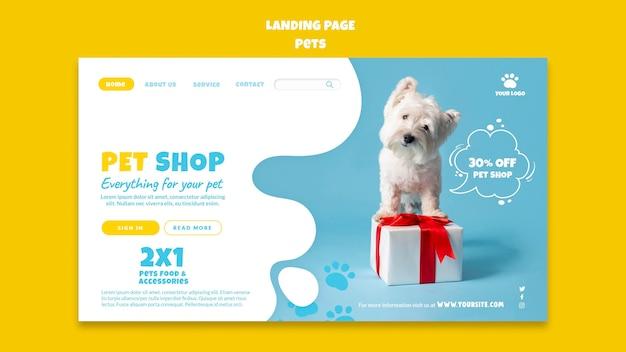 Modello di pagina di destinazione del negozio di animali domestici