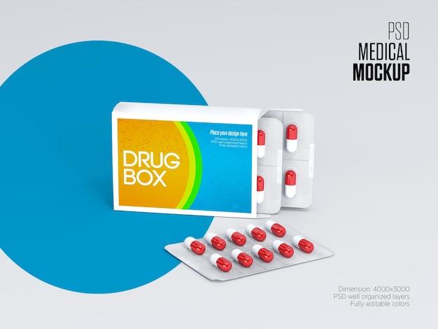 Mockup del pacchetto della scatola della farmacia o della pillola