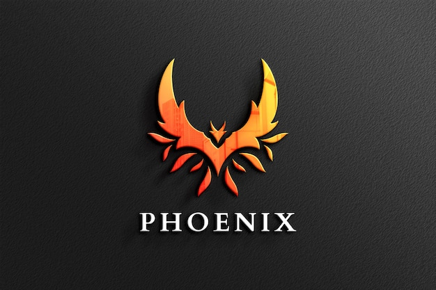 Phoenix logo mockup in carta nera con riflessi