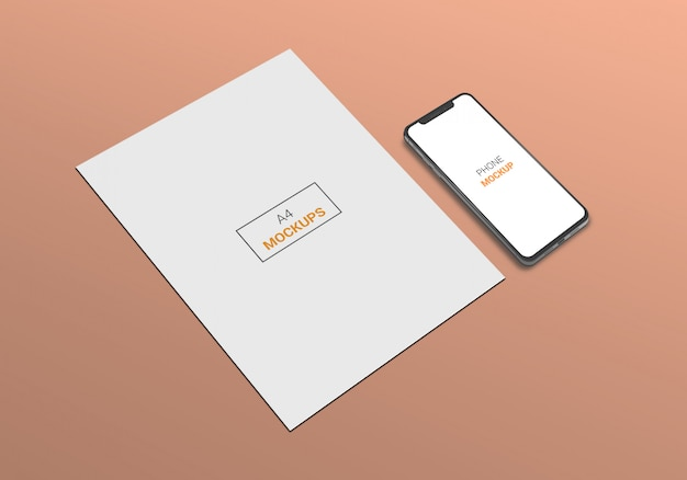 Telefono e pagina a4 mock-up