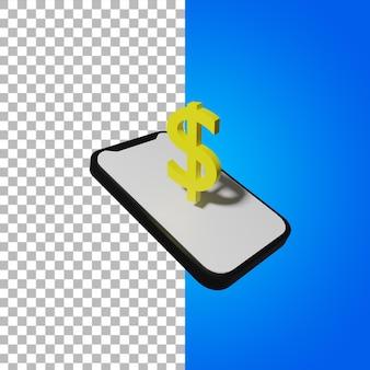 Rendering 3d di telefono e dollaro