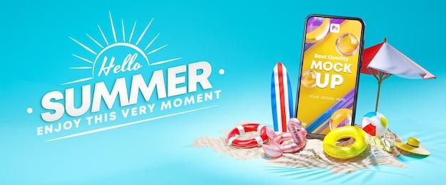 Mockup del telefono hello summer design banner 3d rendering Psd Premium