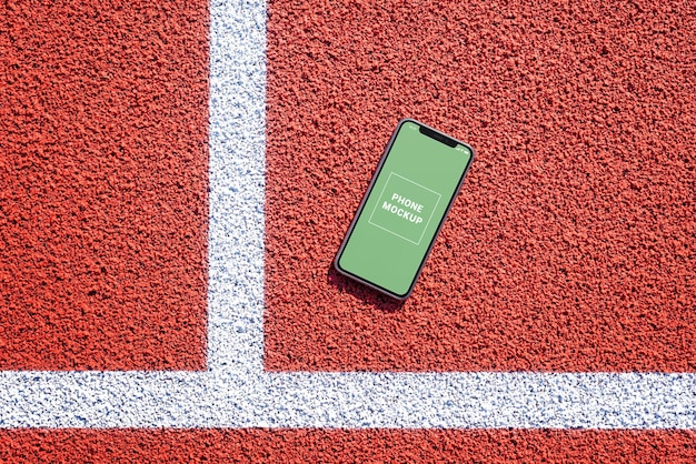 Modello di telefono sulla pista da corsa