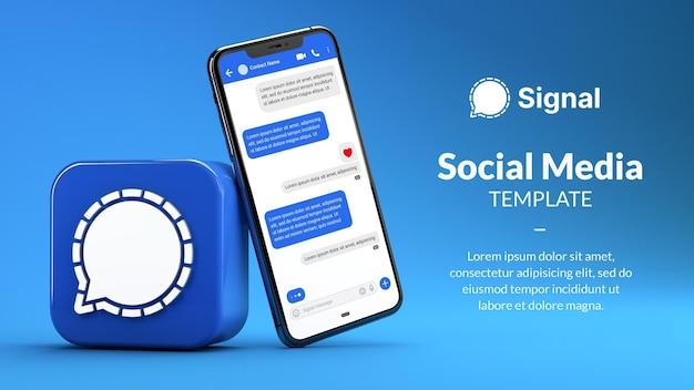 Mockup di telefono del messaggero di segnale, icona dell'app nel rendering 3d