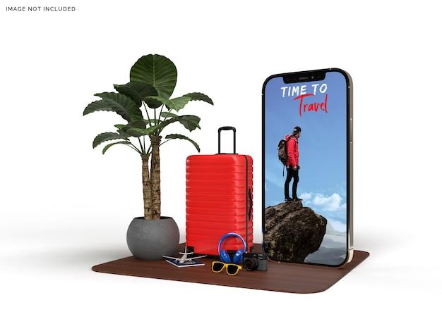 Mockup di telefono e valigia con accessori da viaggio