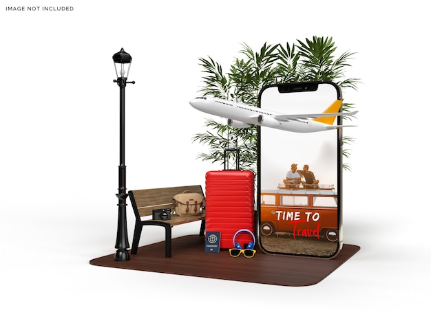 Mockup di telefono e valigia con accessori per aerei da viaggio