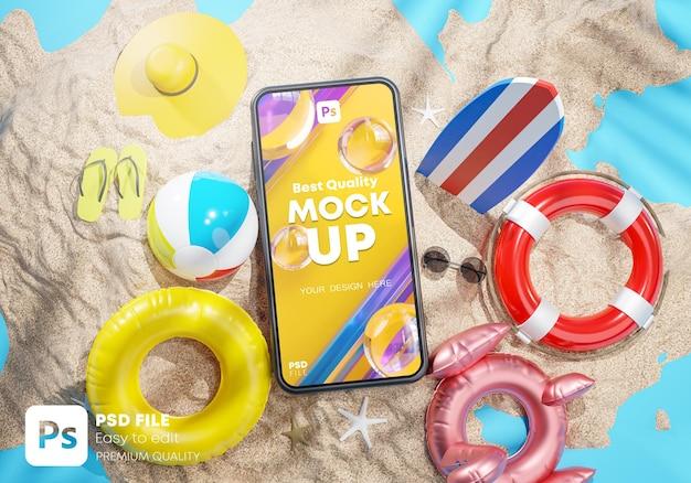 Mockup di telefono tra accessori da spiaggia estivi 3d rendering