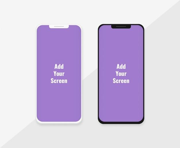 Modello di telefono mockup con variazione di luce e buio