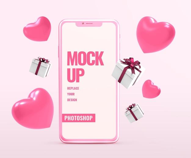 Mockup di telefono per san valentino con forme di cuore