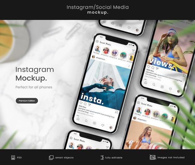 Mockup di telefono con mockup di post su instagram
