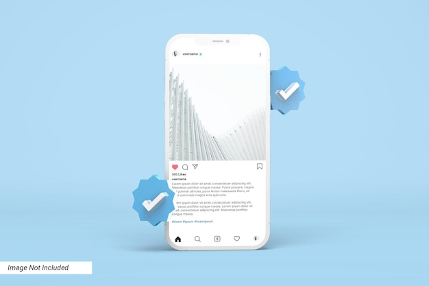Mockup del telefono con modello di post di instagram e icona 3d verificata