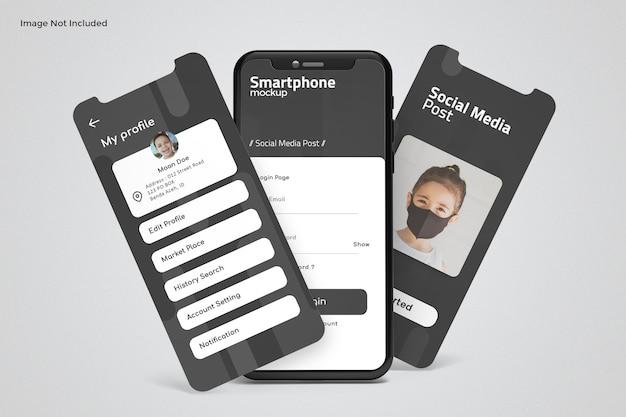 Telefono e schermo per mockup di presentazione dell'app