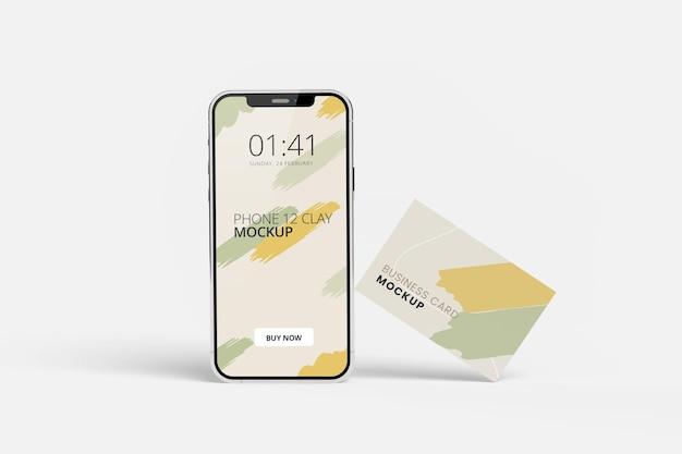 Schermo del telefono e design mockup biglietto da visita isolato