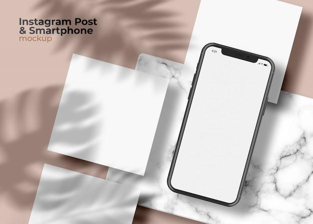 Schermo del telefono con quadrato social media post mockup