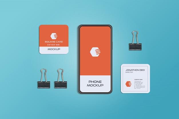 Telefono e quadrato biglietto da visita mockup