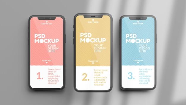 Mockup di telefoni su uno sfondo grigio in flat lay e rendering 3d