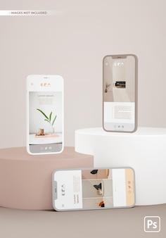 Mockup di telefoni su piattaforme con app ui ux design.