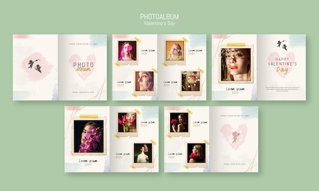 Modello di album fotografico per san valentino Psd Premium