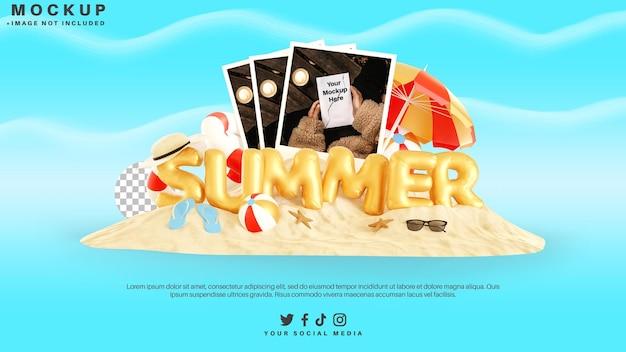 Mockup di cartoline fotografiche con elemento estivo e testo