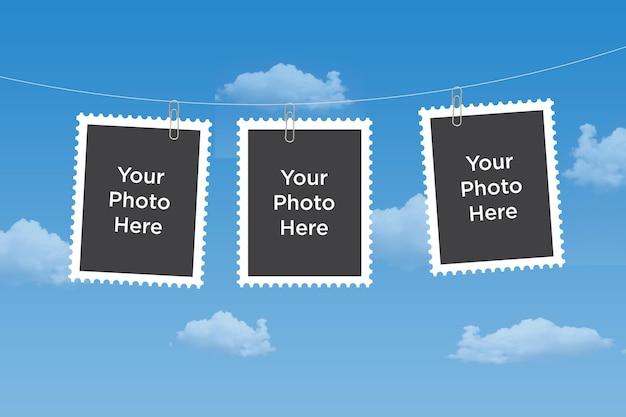 Photo collage mockup composito cornice per foto vuota mockup