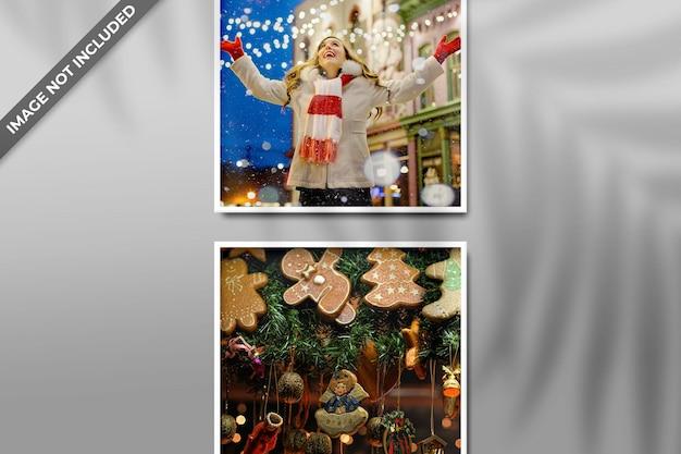Modello di cornice per foto per mockup di natale o capodanno e sfondo rosso psd con ombra
