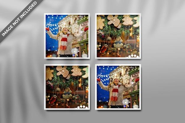Modello di cornice per foto per mockup di natale o capodanno e sfondo rosso con ombra