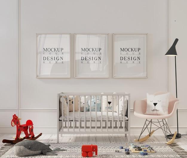Mockup di cornice per foto in graziosi interni della stanza della scuola materna