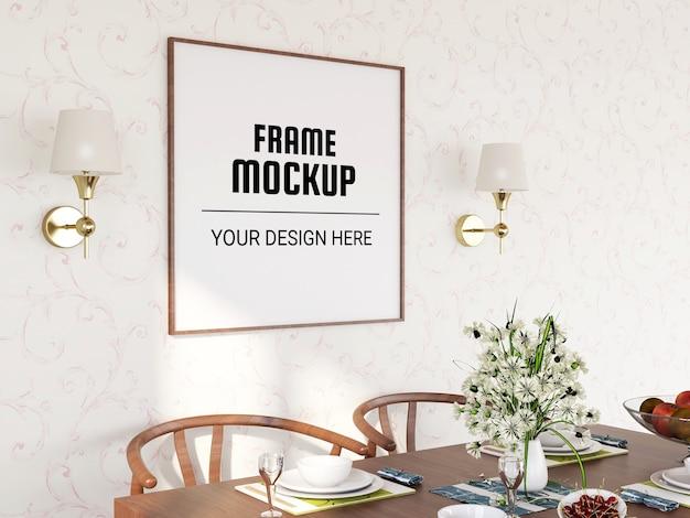 Photo frame mockup nella sala da pranzo