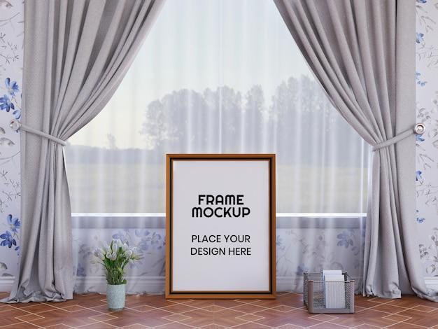 Photo frame mockup sul pavimento
