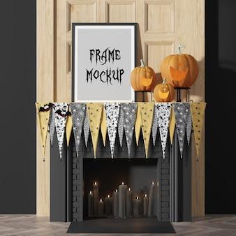 Mockup di cornice per foto per la festa di halloween, accanto alle zucche