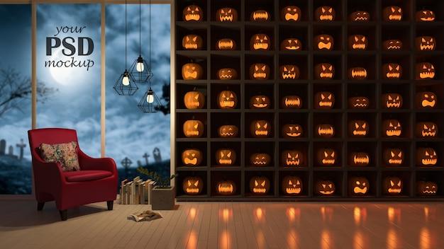 Mockup di cornice fotografica. un interior design nel festival di halloween. molte teste di pumkind su th
