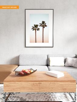 Mockup di cornice per foto in soggiorno rendering 3d