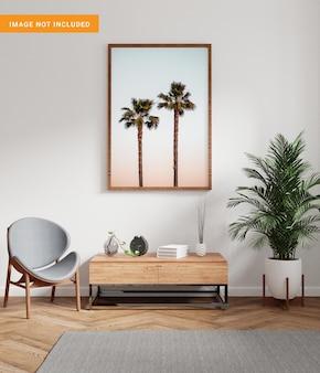 Cornice per foto per mockup nel rendering 3d soggiorno