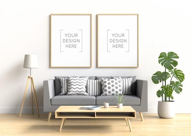 Mockup di cornice per foto nell'interno del soggiorno