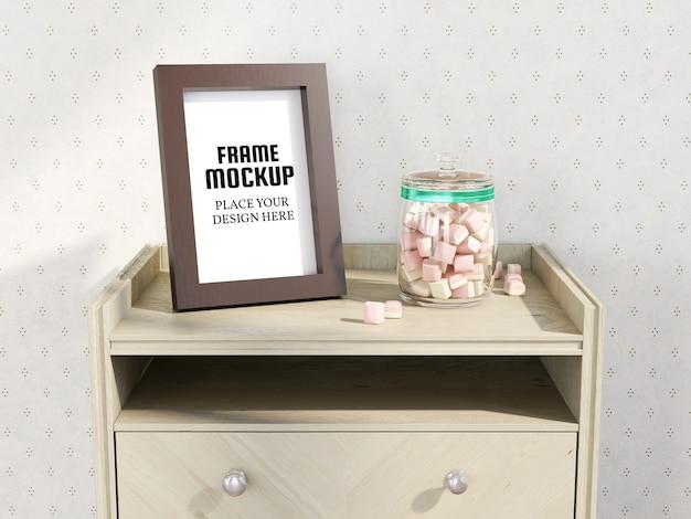Photo frame mockup sulla mini desk