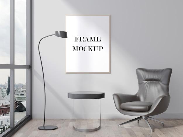 Mockup di cornice per foto in interni moderni con finestra panoramica