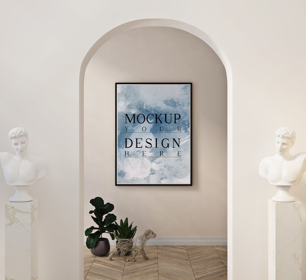 Mockup di cornice per foto in soggiorno moderno con decorazioni e statua su piedistallo