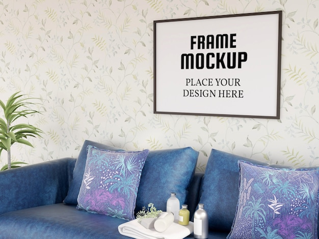 Photo frame mockup nel soggiorno moderno