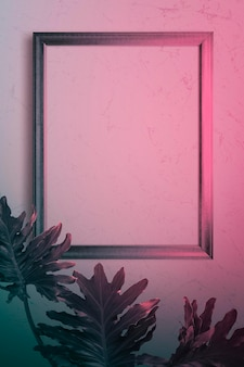 Mockup di cornice per foto in luce rosa