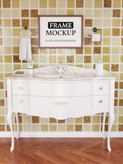 Photo frame mockup realistico in bagno