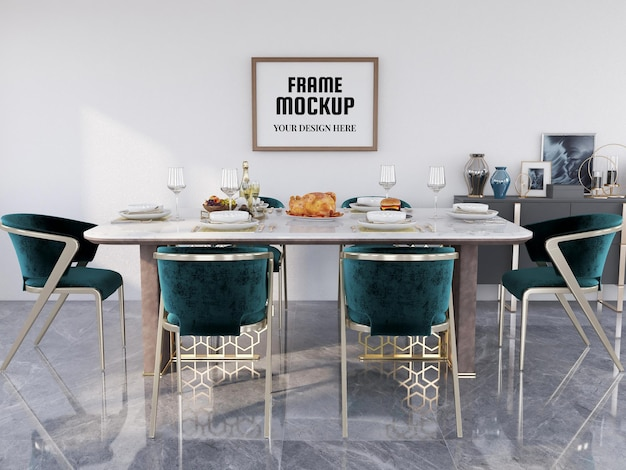Photo frame mockup realistico nella sala da pranzo