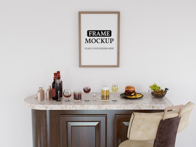 Photo frame mockup realistico in cucina Psd Premium