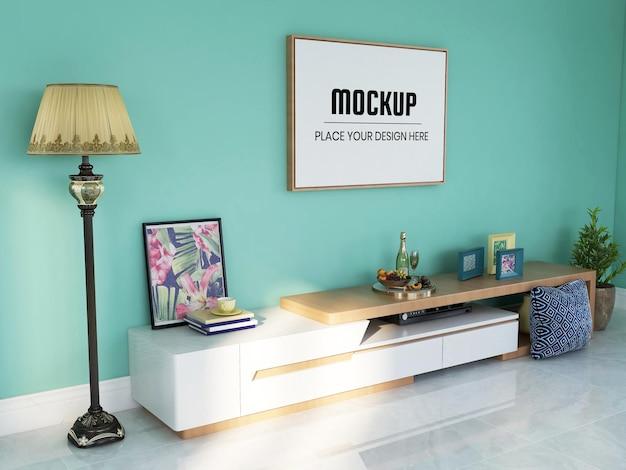 Photo frame mockup realistico nel soggiorno