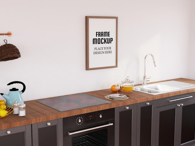 Photo frame mockup realistico nella cucina moderna