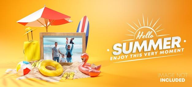 Photo frame mockup summer design rendering 3d
