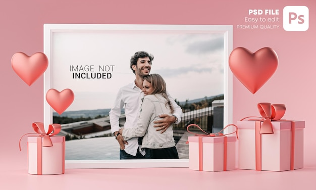 Photo frame mockup template love heart ballon e confezione regalo